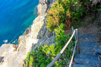 The descent to the sea from the Path of Love, Blue Trail, Cinque Terre, Italy