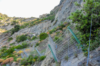 Landslide safety net on the Path of Love, Blue Trail, Cinque Terre, Italy