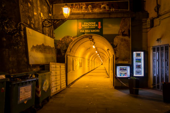 Tunnel to the train station of Manarola and to the beginning of Path of Love, Blue Trail, Cinque Terre, Italy