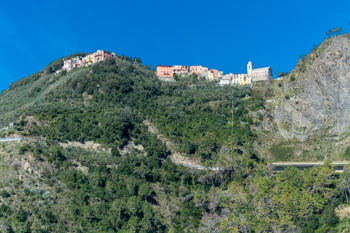 View of San Bernardino from the path Corniglia - Vernazza, Blue Trail, Cinque Terre, Italy