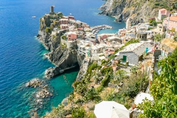 View of Vernazza from the path towards Corniglia, Blue Trail, Cinque Terre, Italy