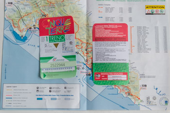 Cinque Terre card with a password for WiFi and a map, Italy