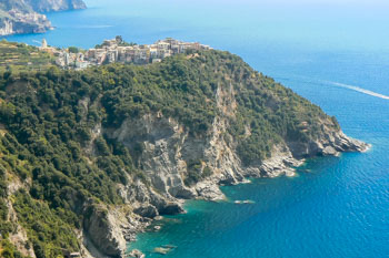 View of the village from the Blue Trail, Corniglia, Cinque Terre, Italy