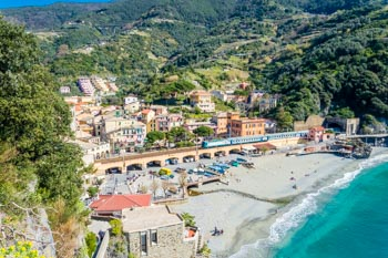 The beach and the historic centre of the village, Monterosso, Cinque Terre, Italy