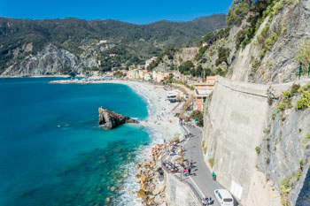 The beach and the new part of the village, Monterosso, Cinque Terre, Italy