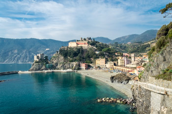View from the Blue Trail on the village and the Capuchin Monastery in the winter, Monterosso, Cinque Terre, Italy