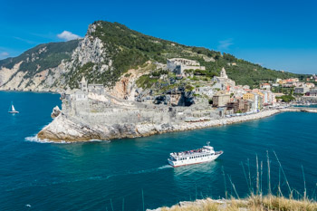 View of the village from Palmaria Island, Portovenere, Cinque Terre, Italy