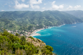 View from the path near Hermitage of San Antonio of Mesco, Cinque Terre, Italy