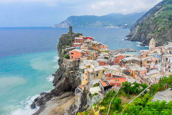 Vernazza with the Belfort tower on the top, Cinque Terre, Italy