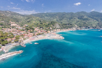View of Monterosso from the trail towards Levanto, Cinque Terre, Italy