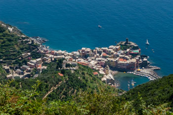 View of Vernazza from the trail near the sanctuary of Nostra Signora di Reggio, Cinque Terre, Italy