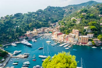 Vista desde el Castillo Brown (Castello Brown), Portofino, Italia